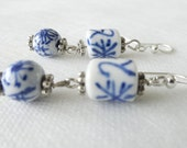 Blue and White Oriental Porcelain Dangle Earrings