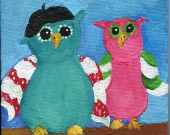 Owls acrylic painting canvas,  beret wearing Owl, Original mini painting on Canvas panel, Easel, owl art, small owl acrylic art