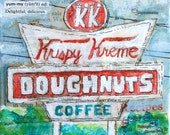 "Delightful, Delicious mixed media Krispy Kreme painting PRINT 8""x8"""
