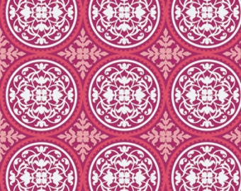 Scrollwork in Deep Pink by Joel Dewberry / True Colors for Free Spirit  /  1 yard Cotton Quilt / Apparel Fabric