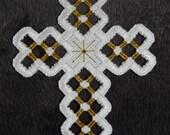Hardanger Cross Ornament – Dark Gold