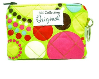 Multi Dot Green Quilted Wallet, Quilted Purse, Polka Dot Wallet, Keychain Wallet, Keyring Wallet, Quilted Coin Purse, Change Purse, Coin Bag