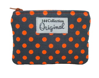 Neon Orange Polka Dots Coin Purse, Neon Wallet, Orange Neon Purse, Change Wallet, Coin Wallet, Change Wallet, Coin Pouch, Zipper Pouch
