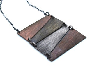 Mixed Metal Geometric Statement Necklace