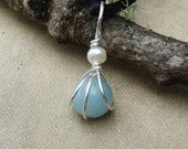 Small Amazonite and Pearl Pendant - Little Stone Necklace Sterling Silver Wire Wrapped Beads  - Fresh Water Pearl Stone Jewelry