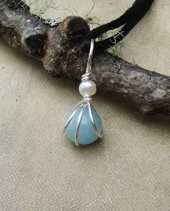 Small Amazonite Pendant With Pearl, Mother's Day  Little Stone Necklace Sterling Silver Wire Wrapped Beads Fresh Water Pearl Stone Jewelry
