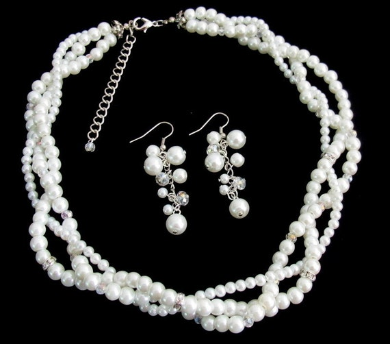 Bridal Enchanting Set White Pearls Bridal Twisted Necklace Set  Silver Rhinestons  Free Shipping In USA