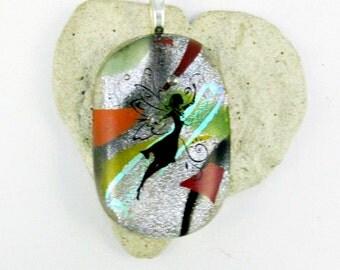 Fairy on Dichroic Fused Glass Pendant