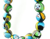 Colorful Indian Millefiori Face Beads OLD 12-13mm  (FULL STRAND)