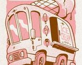 Tiny Ice-Cream Truck - Mini Art Print