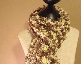 Great Cream and Brown textured scarf