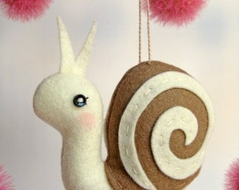 Tiny Snail Plush or Ornament in White