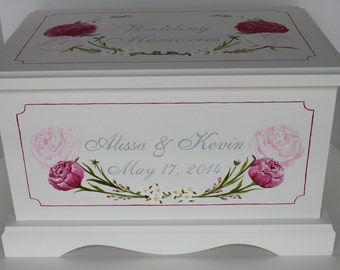 Wedding keepsake chest personalized card box - Peonies - wedding gift hand painted card box