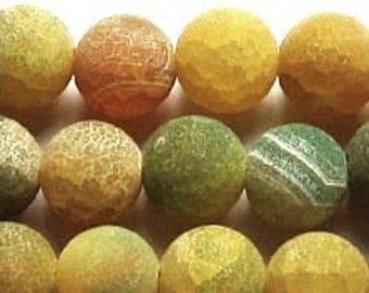 12mm Frosted Matte Fire Agate Yellow Round Beads 8 inch strand
