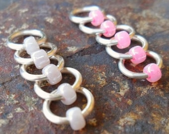 Dangle Free Knitting Stitch Markers - Pale Lilac and Hot Pink Silver Wire  - Choose Ring Size and Quantity
