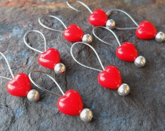 Small Snag Free Knitting Stitch Markers Opaque Red Hearts Set of 8 Fits Needles Up To 5mm