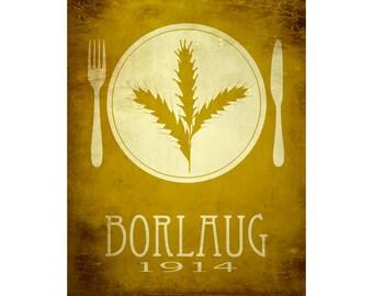 Norman Borlaug 11x14 Science Art Print - Rock Star Scientist - Wheat Research, Biologist and Humanitarian, Green Revolution, Steampunk Art