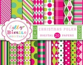 80% off Christmas digital scrapbook paper Christmas Polka hot pink, green, lime, dots, stripes, Instant Download