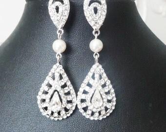 Crystal Art Deco Wedding Earrings, Chandelier Bridal Earrings, Vintage Style Bridal Jewelry, Pearl & Crystal Drop Earrings, Jenae