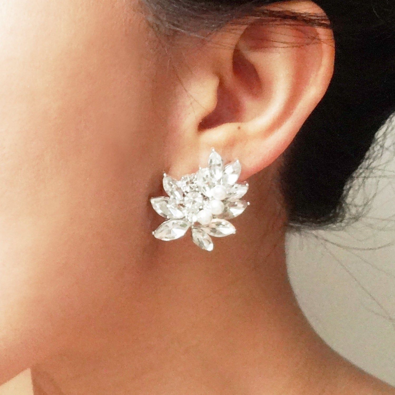 statement rhinestone bridal stud earrings vintage by