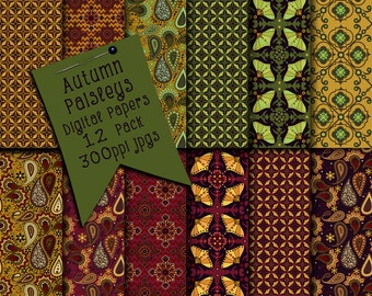 Digital Paper, Paisley Digital Scrapbooking Paper, Paisley Patterns, Digital Scrapbook Papers, Surface Patterns, Brown Colors Digital Papers