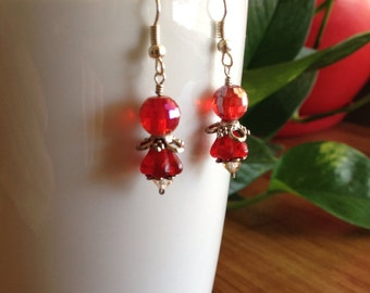 Red Crystal and Flower Earrings
