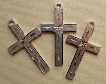 Large vintage laser etched cross