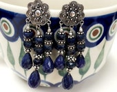 Blue Sapphire sterling silver earrings