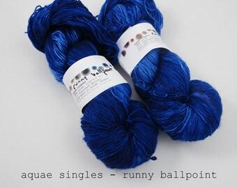 runny ballpoint - aquae singles, fingering weight sock yarn (dyed to order, in stock)