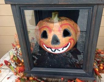 Primitive Jack-O-Lantern Light Box/Halloween Decor OOAK