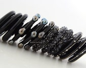 12 BLACK Spiral Disks - Lampwork Glass Beads Chrome Dots, Fine Silver, and Luster Sugar Handmade Lampwork Glass Beads - taneres 20 mm