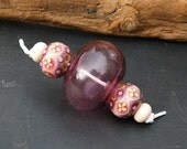 """M a r i e k U n i e k Lampwork beads <5> """"Hollow beadset Violet and pink"""""""