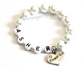 Flower Girl Bracelet Personalized with name. White Pearl bracelet for Flower Girls. Rhinestone heart charm YOU CHOOSE COLOR. Name Bracelet