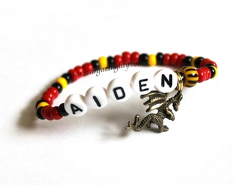 Dragon Charm Bracelet! YOU CHOOSE the bead colors. Personalized name bracelet. Party favor for princes at the princess party. Karate.