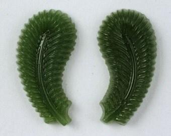 10mm x 20mm Fern Green Paisley Cabochon (2 Pcs) #XS8-D