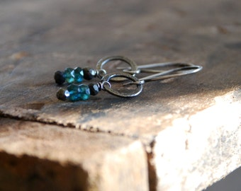 Mason Earrings - Handmade. Apatite. Pyrite. Textured and oxidized Sterling Silver