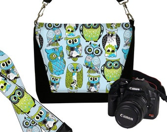 SET Cute Owl Dslr Camera Bag and Dslr Camera Strap, Camera Bag Slr and Camera Neck Strap, Green Blue MTO