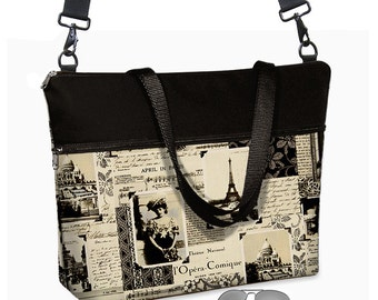 17 inch Laptop Bag avail w/ long cross body strap / April in Paris Laptop Tote Bag / Women's Briefcase / Pockets,  Zipper  MTO