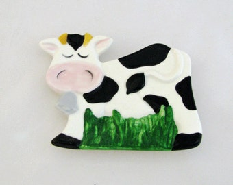Spotted Cow Small Spoon Rest or Tea Bag Holder Black and White Cow