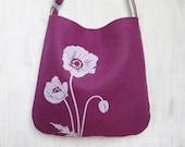 Fuchsia Tote Bag - Shoulder Messenger Bag for Women - Poppy Screen Printed Hemp Bag - Crossbody Bag - Fabric Tote Handbag