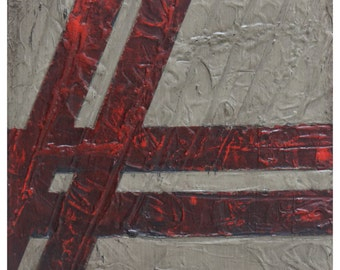 ORIGINAL Painting - Industrial Urban Abstract (10x10 inches). Acrylic, Bitumen and Dry Ink on Canvas.
