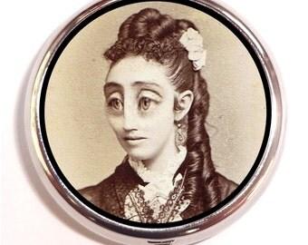 Victorian Bug Eyed Woman Pill box Pill Case Holder Pillbox