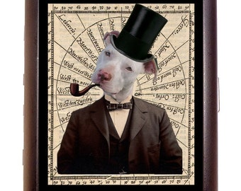 Steampunk Pit Bull Cigarette Case Victorian Dog Dapper Top Hat Anthropomorphic Animal ID Business Card Credit Card Holder Wallet Pitbull