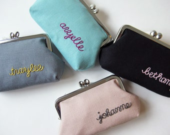 Custom personalized purse - hand-embroidered name pick your color custom purse bridesmaid gift  pastel kiss lock purse frame pouch birthday