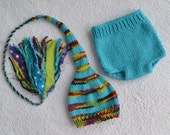 Newborn Baby Boy Outfit KNiT BaBY PHoTO PRoPs Stocking Hat Diaper Cover SET Turquoise Black Lime mix Stripe FaT TaSSeL Pixie Cap CoMiNG HoME
