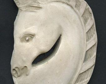 Polymer Clay Faux Marble Art Deco Horse Head   Cab  FMH 2