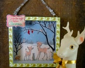 Night Before Christmas in the Forest Shadowbox Deer, Rabbits, Owl, Birds, Squirrel Waiting for Santa Christmas Stocking Snow Giltter Diorama