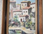Vintage Seaside Villa with Boat Oil Painting Framed 16-1/2 x 20-1/2 Inches, Fine Art, Original Artist Signed