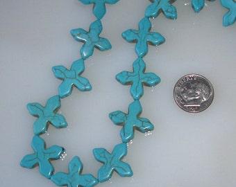 Turquoise Howlite Cross Beads 20x20mm Half Strand