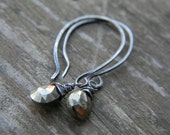 flicker pyrite drops with rustic sterling silver